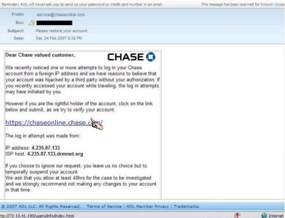 Phishing Scams and Fraud
